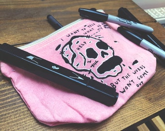 Hand Drawn Pencil Case / Make Up Bag - Limited edition