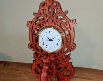 Fretwork scrollsaw clock