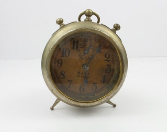 Antique GALE WATERBURY Wind Up Alarm Clock  USA