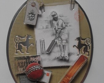 Father's Day cricket decoupage gift tag with green ribbon