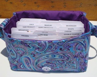 """Large 4"""" Size Coupon Organizer / Budget Organizer Holder Box - Attaches to Your Shopping Cart - Blue Purple Paisley"""