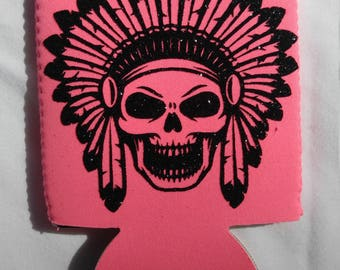 Skull with headress can holder