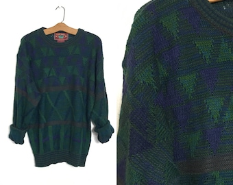 Vintage 80's Sweater Triangles Geometric Blue and Green 90's Sweater Boyfriend Sweater Slouchy Sweater Grandpa Sweater Extra Large S