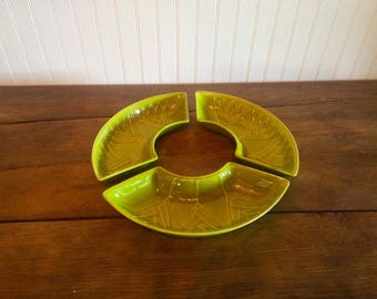 Vintage California Pottery Lime Green Lazy Susan Section Dishes
