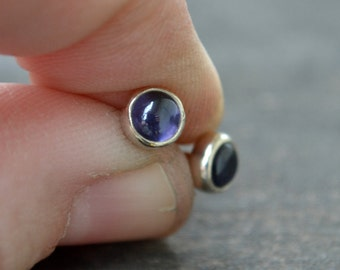 iolite and sterling silver small stud earrings