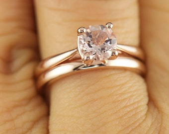 Talia & Kelsie Set - Morganite Solitaire Engagement Ring in Rose Gold and 2mm Rose Gold Domed Wedding Band, Free Shipping