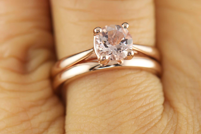 Talia Kelsie Set Morganite Solitaire Engagement Ring In