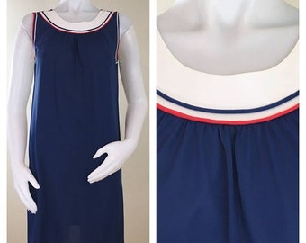 30% Off Sale 60s Lorraine Mod Navy Blue Red and White Nylon Shift Nightgown, Size Medium to Large