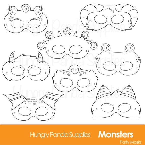 monster printable coloring masks halloween masks monsters monster costume monster party halloween party printable masks - Coloring Halloween Masks