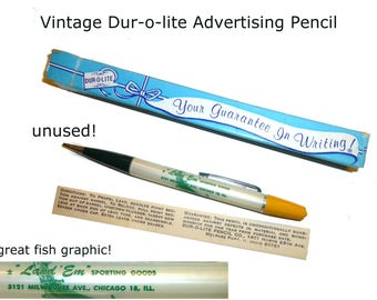 Vintage Dur-O-Lite Advertising Mechanical Pencil. Original Box & Insert. Chicago 1960s. Sporting Goods Store Great Fish Graphic. Unused
