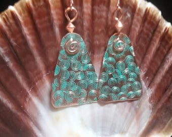 Stamped copper earrings. Turquoise patinaed earrings.  Textured copper earrings.