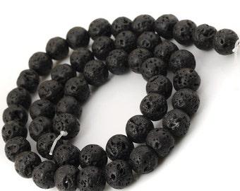 8mm Lava Beads 16 Inch Strand 45-49pc