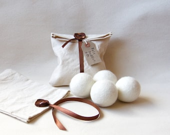 Felt Wool Dryer Balls - Set of 4 -  Large white eco friendly natural wool tumble dryer balls - unscented handmade