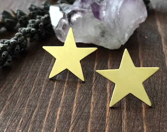 Star Post Earrings | Brass earrings | Handmade Post Earrings