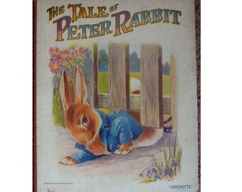 antique Linenette children's picture book The Tale of Peter Rabbit, classic Beatrix Potter bunny story, adorable bunnies illustrations