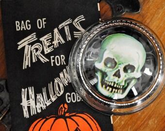 Vintage Halloween - Vintage Paperweight - Vintage Dennison Skull Seal - Glass Paperweight - Collectible
