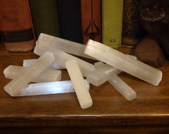 Selenite Wands / Sticks (crystal healing cleansing protection stone gemstone rod pagan witch craft wiccan rough rock rockhound fiber)