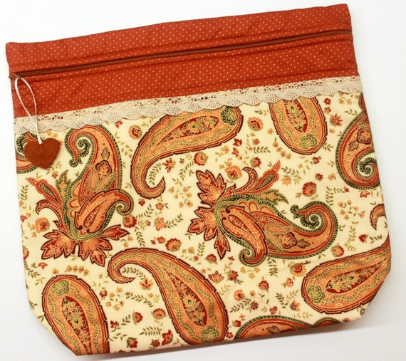 MORE2LUV Metalic Gold Pumpkin Spice Cross Stitch Embroidery Project Bag