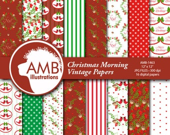 Traditional Christmas Digital Paper, Red Cardinal Holiday Backgrounds, Vintage Christmas Scrapbooking, Commercial Use, AMB-1463