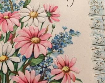 Vintage Get Well Card Vintage Glitter Pink 1950s Graphics