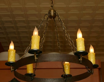 Custom Wine Barrel Hoop, Gothic / Medieval Chandelier