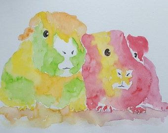 Guinea pig art pictures of guinea pigs. watercolor Guinea pig prints, Guinea pig gifts, Modern animal art, Animal portraits by dylshouse
