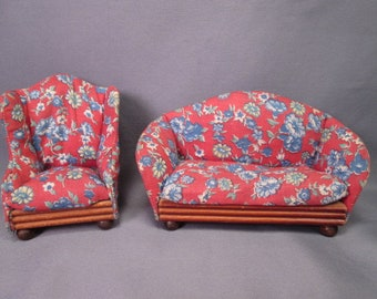 Kage Dollhouse Furniture - Upholstered Living Room Sofa and Chair  - 3/4 Scale