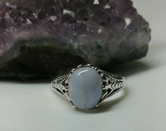 Blue Lace Agate Fashion Ring
