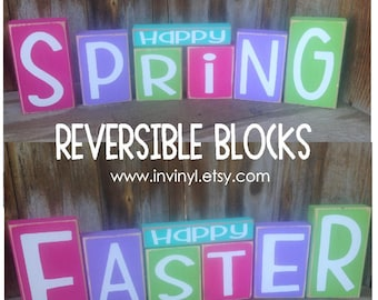 EASTER and SPRING wood blocks holiday stacking wood home decor seasonal - with vinyl lettering
