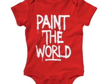 Baby One Piece - Paint The World Infant Romper - NB 6m 12m 18m 24m - Graffiti Artist Baby, Street Art Baby, Muralist Baby, Urban Art Baby