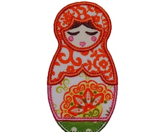 """Tatiana Babushka Doll Appliques Machine Embroidery Design Patterns 2 versions in 4 sizes 4"""", 5"""", 6"""" and 7"""""""