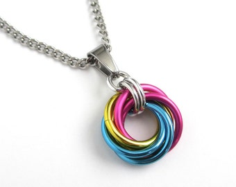 Pansexual pride pendant necklace, chainmail love knot, pan pride jewelry, pink yellow blue