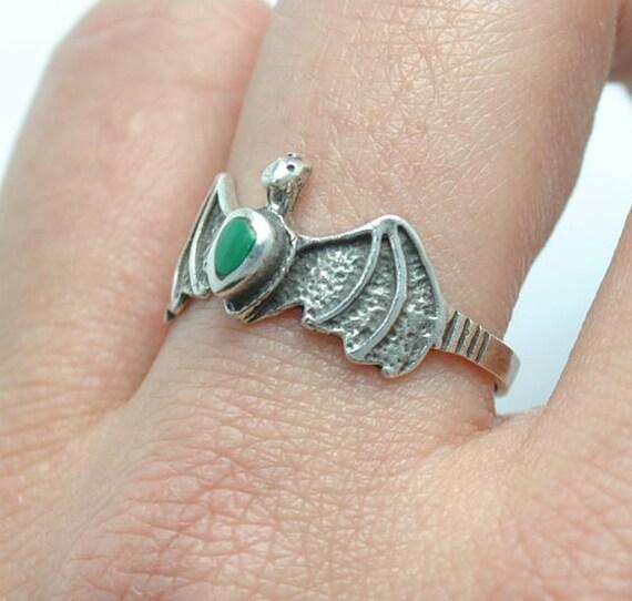Malachite ring - animal ring, silver ring, bat ring, little ring, small ring, girl ring, boho ring, ethnic ring, turquoise jewelry