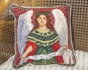 Vintage Needlepoint Pillow Christmas Angel Tapestry Pillow Petit Point Red Green Ivory Velvet Needle Point With Form