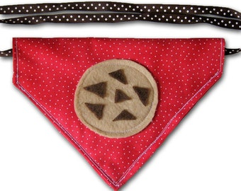 Snackie Time - Chocolate Chip Cookie FUNdana - Pet Bandana - Red - Ready To Ship Today