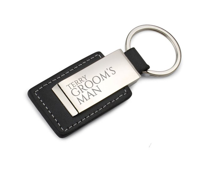 Engraved GROOMSMAN keyring wedding thank you gift, personalised DELUXE keychain - 7723-CN5