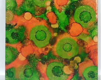 Orange, Green and Gold Ceramic Trivet; Hot Pad; Kitchen Hot Pad; Pot Holder; Serving Tray; Kitchen Decor; Alcohol Ink; Abstract Art