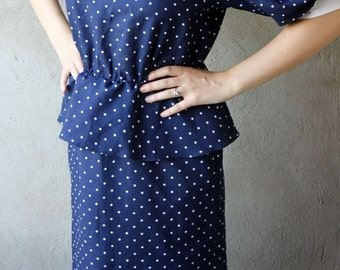 Vintage dress navy blue with white dots