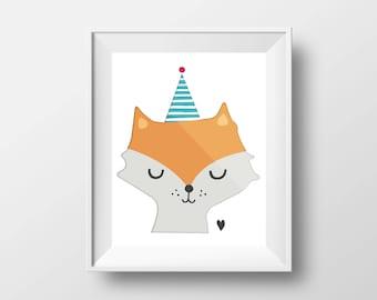 Birthday fox,  printable wall art