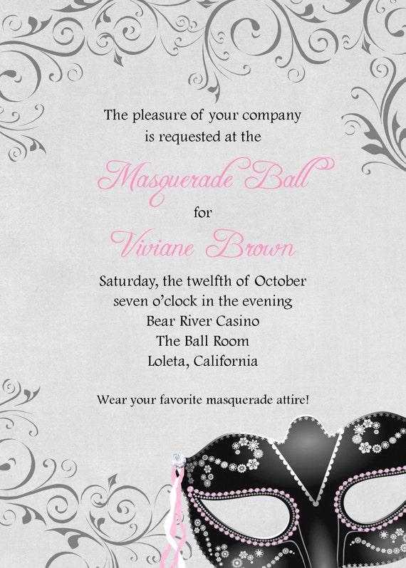 Masquerade Ball Invitation 5x7 Custom Digital Card