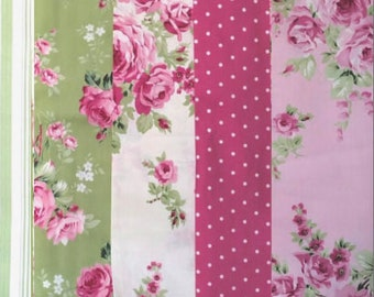 Barefoot Roses Legacy Tanya Whelan - fat quarter bundle, 5 pieces - shabby cottage country chic