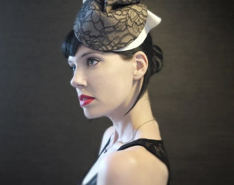 Black Lace on Tan and Cream Felt Fascinator - Bantam Hat - Lux Version - Made to Order