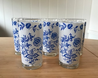 Blue and White Floral Decorated Juice Glasses