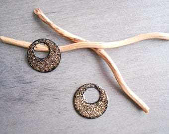 X 2 hoop sequins black and glittery gold