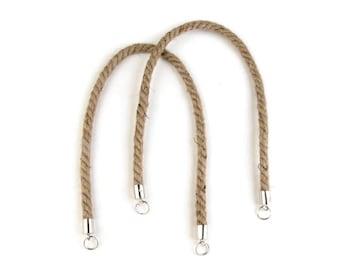 2 Bag handles in raw rope 55 cm