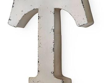 Letter T Antique ivory-colored metal 30X5X30 cm