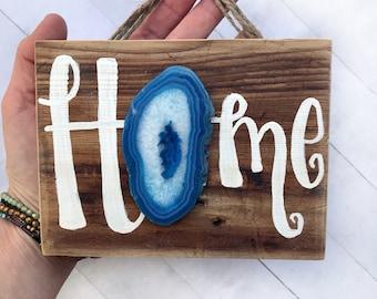 Home wood sign crystal wall art