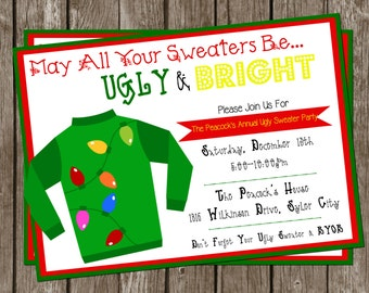 Ugly Sweater Christmas Party DIY/PRINTABLE 5x7 Invitation