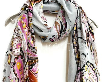 Paisley Light Grey Cashmere Scarf/Spring Summer Scarf /Autumn Winter Scarf /Gifts For Her/Gifts For Mother/ Handmade Accessories /Christmas