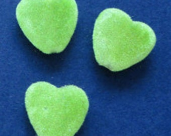 6pc - 16mm Light Olive Green Plush Velvet Velour Heart Spacer Beads